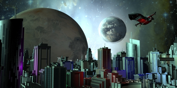 city with planets